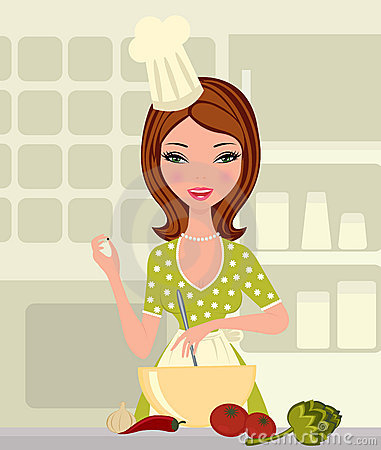 Gallery Young Woman Cooking Cartoon