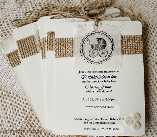 gallery burlap and lace baby shower invitations