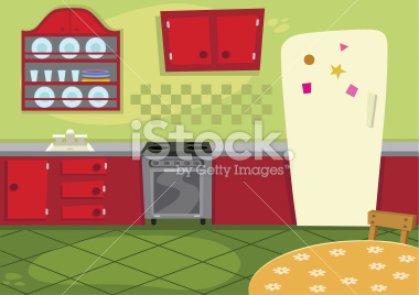Simple kitchen cartoon for Simple kitchen room images